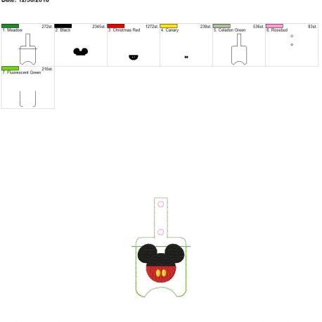 Mr Mouse Sanitizer holder snap tab 5×7