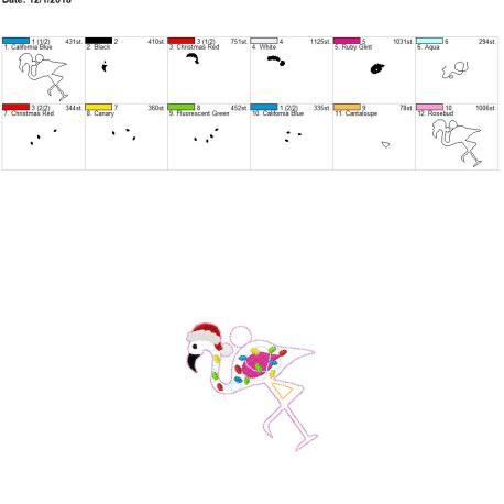 Santa Flamingo with lights ornament 4×4
