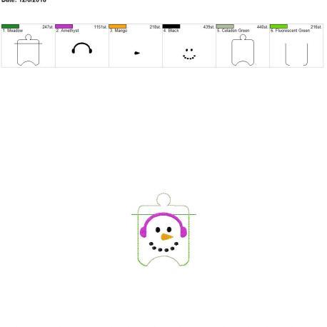 Snowman Sanitizer Holder eyelet 4×4
