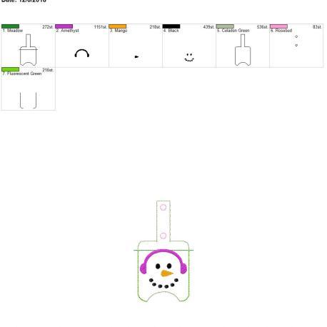 Snowman Sanitizer holder snap tab 5×7