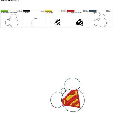 Super Hero Mouse Ornament 4×4