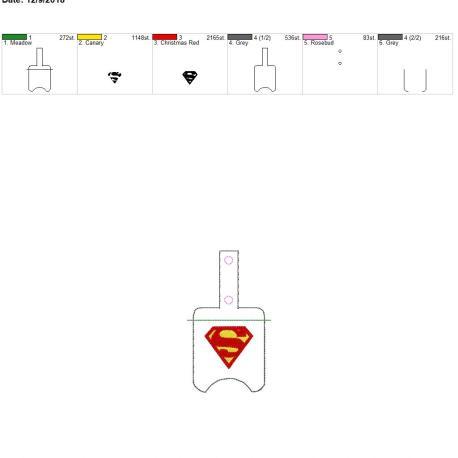 Super Hero Sanitizer Holder snap tab 5×7