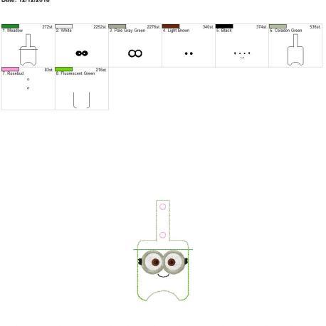 Two Eyed Monster Sanitizer holder snap tab 5×7