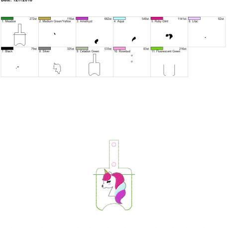 Unicorn Sanitizer holder snap tab 5×7