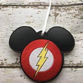 ITH Flash Hero Mouse Ornament – 4×4 and 5×7 grouped- Embroidery Design – DIGITAL Embroidery DESIGN