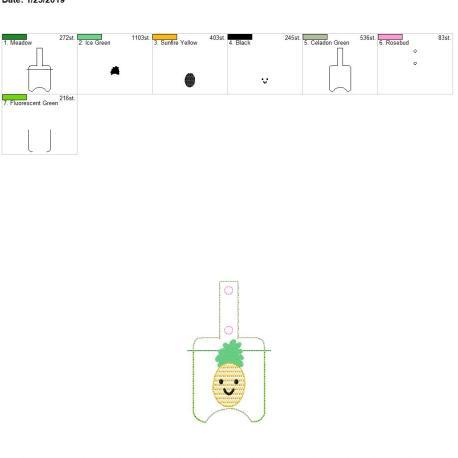 Kawaii Pineapple Sanitizer holder snap tab 5×7