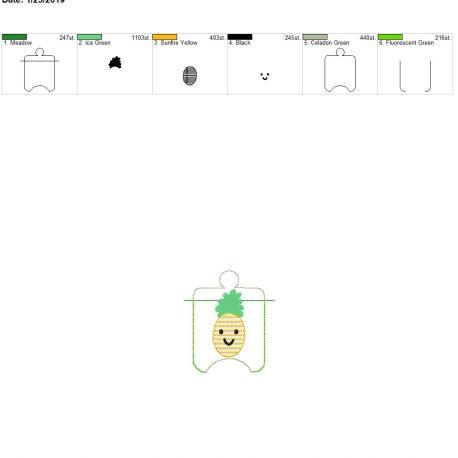 Kawaii Pineapple sanitizer holder eyelet 4×4