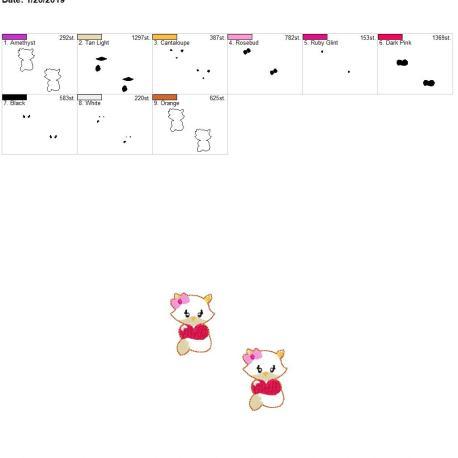 Valentine Girl Fox 2inch feltie 4×4 grouped