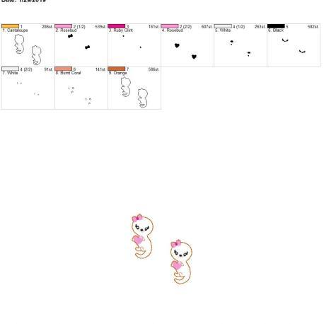 Valentine Girl Otter 2inch feltie 4×4 grouped