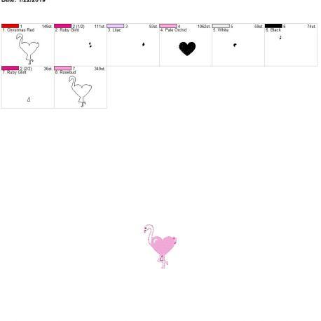 Valentine Heart Flamingo 2inch feltie 4×4