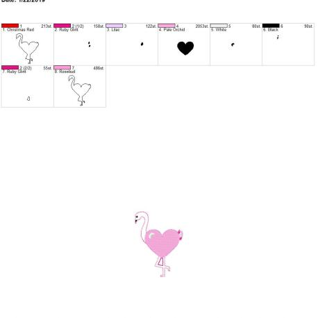 Valentine Heart Flamingo 3inch feltie 4×4