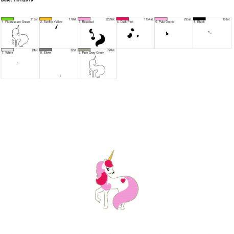 Valentine Unicorn Feltie 3.75inch 4×4