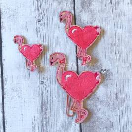 ITH – Valentine Flamingo Felties – 3 sizes- Digital Embroidery Design