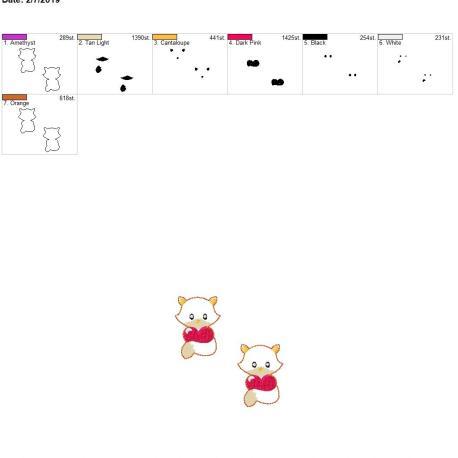 Valentine Boy Fox 2inch feltie 4×4 grouped