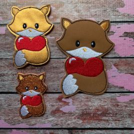 ITH – Valentine Boy Fox Felties – 3 sizes- Digital Embroidery Design