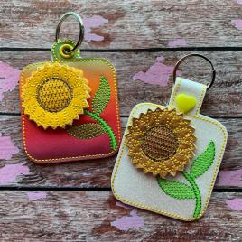 ITH 3D Sunflower Fobs- 4×4 and 5×7 grouped- Embroidery Design – DIGITAL Embroidery DESIGN