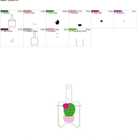 Cactus Sanitizer holder snap tab 5×7