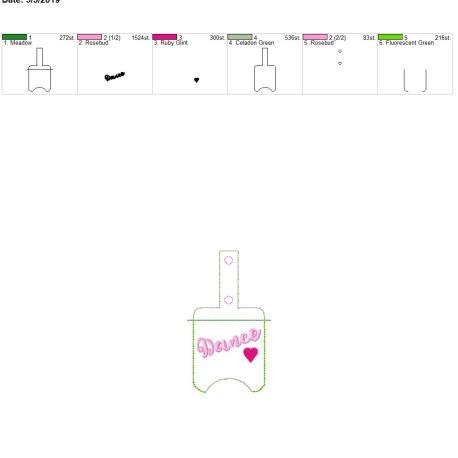 Dance Sanitizer holder snap tab 5×7