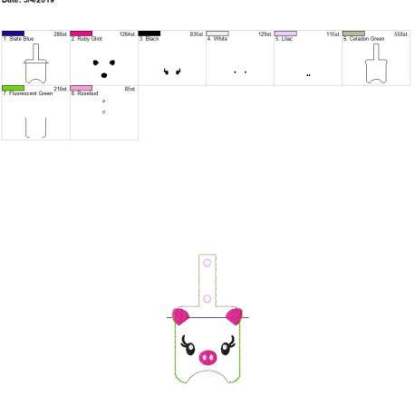 Pig Face Sanitizer holder snap tab 5×7