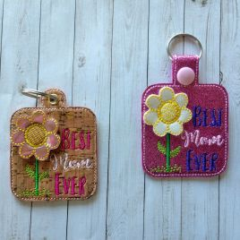 ITH 3D Best Mom Ever Fobs- 4×4 and 5×7 grouped- DIGITAL Embroidery DESIGN
