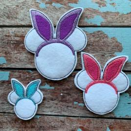 ITH – Mouse Bunny Felties – 3 sizes- Digital Embroidery Design