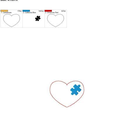 puzzle piece heart 3.75inch feltie 4×4 single