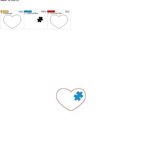 puzzle piece heart 3inch feltie 4×4 single