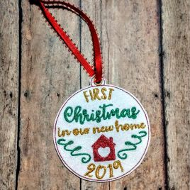 ITH – First Christmas in our new home 2019 Ornament 4×4 and 5×7 grouped – Digital Embroidery Design