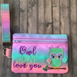 ITH – 3D Owl Always Love You Zipper Bag & Wristlet 5×7 and 6×10 – Digital Embroidery Design