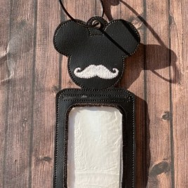 ITH – Mouse Mustache ID Holder 5×7 only – Digital Embroidery Design