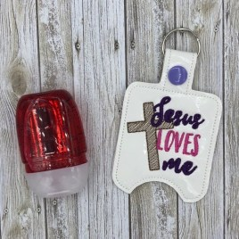 ITH Jesus Loves Me Sanitizer Holder 4×4 and 5×7 included- DIGITAL Embroidery DESIGN