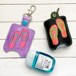 ITH Flip Flops Sanitizer Holders 4×4 and 5×7 included- DIGITAL Embroidery DESIGN