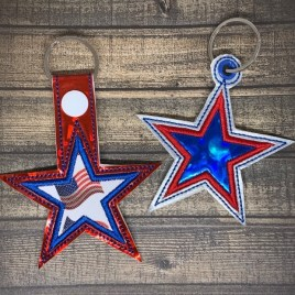 ITH Applique Star Fobs – 4×4 and 5×7 grouped-DIGITAL Embroidery DESIGN