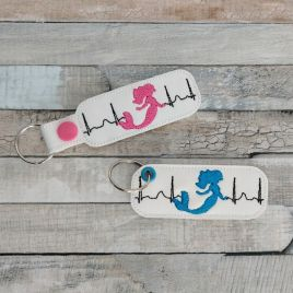 ITH Mermaid EKG Fobs – 4×4 and 5×7 grouped-DIGITAL Embroidery DESIGN