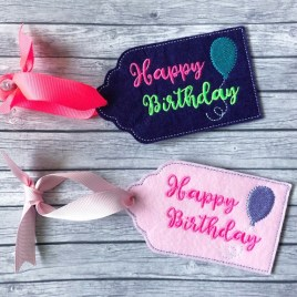 ITH – Happy Birthday Gift Tag Feltie – Digital Embroidery Design