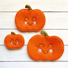 ITH – Happy Pumpkin Felties – 3 sizes- Digital Embroidery Design