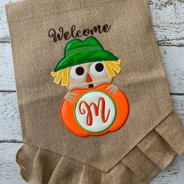 ITH Scarecrow Monogram Applique – 3 Sizes – DIGITAL Embroidery Design