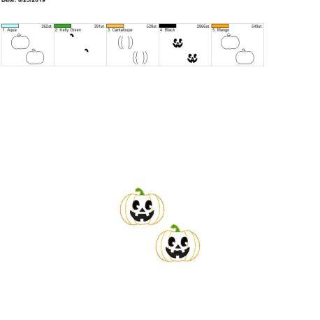 Jack o lantern 2inch feltie 4×4 grouped