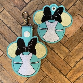 ITH Wonderland Girl Fobs 4×4 and 5×7 included-  DIGITAL Embroidery DESIGN