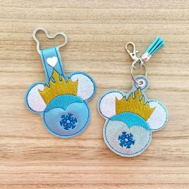ITH Ice Queen Mouse Fobs 4×4 and 5×7 included-  DIGITAL Embroidery DESIGN
