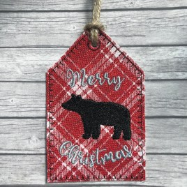 ITH – Merry Christmas Bear Gift Tag Feltie – Digital Embroidery Design