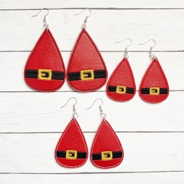 ITH – Santa Belt Earrings – 3 sizes – 4×4 and 5×7 Grouped- Digital Embroidery Design