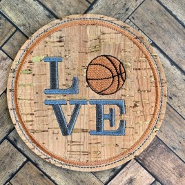 ITH Love Basketball Coaster 4×4 – DIGITAL Embroidery DESIGN