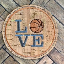 ITH Love Basketball Coaster 4×4 – DIGITAL Embroidery DESIGN