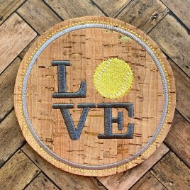 ITH Love Tennis Coaster 4×4 – DIGITAL Embroidery DESIGN