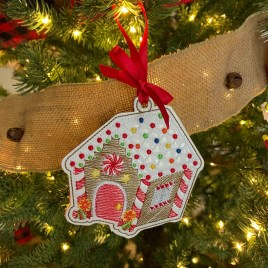 ITH – Gingerbread Family Set #8 Ornament 4×4 – Digital Embroidery Design