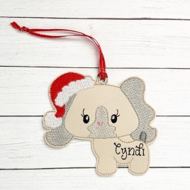 ITH – Girly Santa Puppy Ornament 4×4 and 5×7 grouped – Digital Embroidery Design