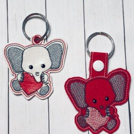 ITH Valentine Elephant Fobs 4×4 and 5×7 included-  DIGITAL Embroidery DESIGN