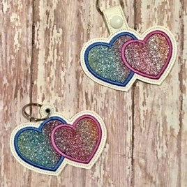 ITH Double Heart Applique Fobs 4×4 and 5×7 included-  DIGITAL Embroidery DESIGN