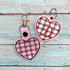 ITH Plaid Heart Fobs 4×4 and 5×7 included-  DIGITAL Embroidery DESIGN